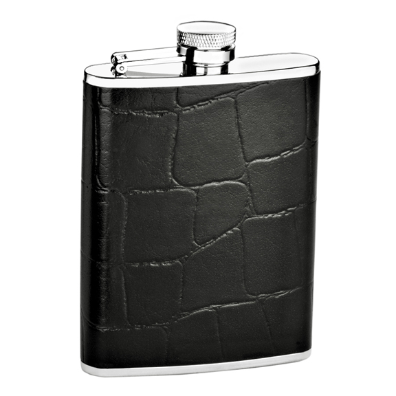 1218- 6 oz. Stainless Steel Flask in Black Crocodile Genuine Leather Cover