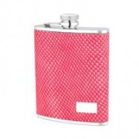 1518- 6 oz Stainless Steel Flask with Red Lizard Embossed Leather
