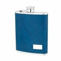 1524- 6 oz Stainless Steel Flask with Genuine Leather in Dark Blue