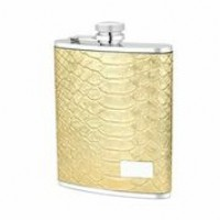 1568- 6oz. Stainless Steel Flask in Gold Crocodile Genuine Leather Cover