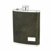 1523- 6 oz Stainless Steel Flask with Genuine Leather in Dark Green