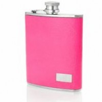 1433- 6 oz Stainless Steel Flask with Italian Genuine Leather Leather Neon Pink