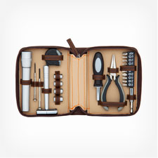1634- 22 Piece Brown Tool Kit Set with zipper